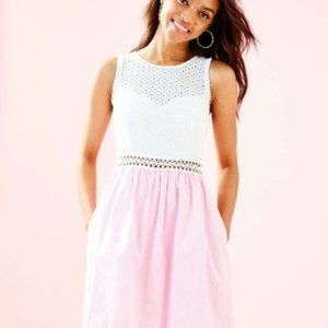 Lilly Pulitzer Alivia Eyelet Seersucker Dress NWT